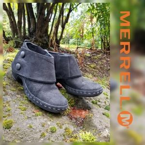 Merrell Luxe Wrap Leather Black Clog Booties